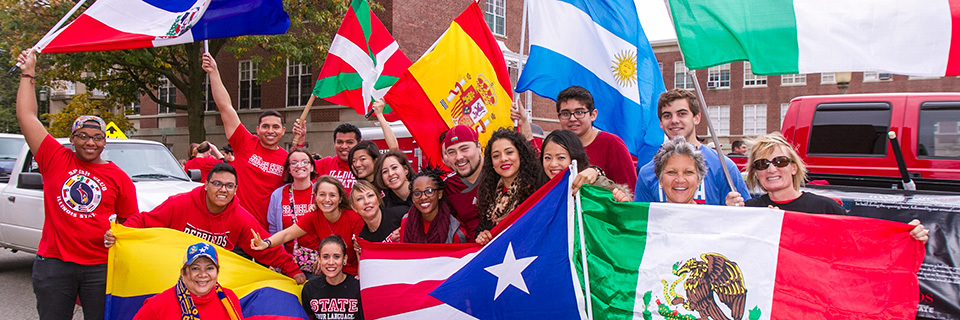 Languages, literatures and cultures students marching in Homecoming Parade